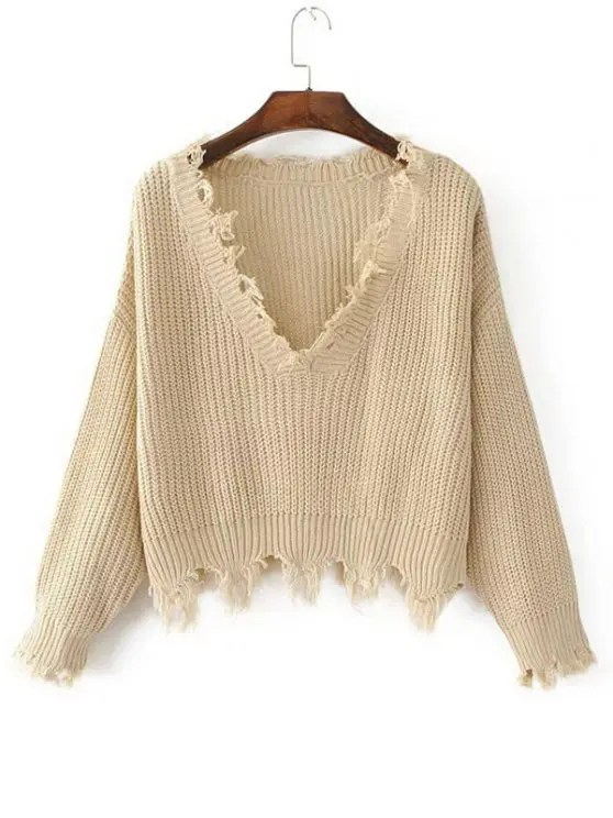 shop Loose Ripped V Neck Sweater - KHAKI ONE SIZE