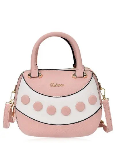 Polka Dot Textured Leather Handbag