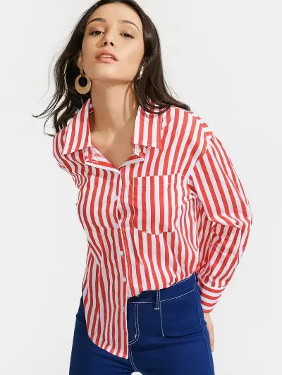 Zaful High Low Stripes Shirt with Pocket