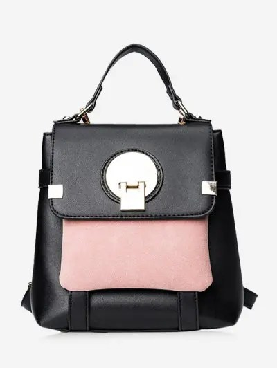 Colour Block Faux Leather Backpack
