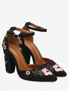 Zaful Embroidery Block Heel Two Piece Pumps - Black  $38.66