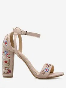 Zaful Embroidered Ankle Strap Block Heel Sandals - Apricot  $35.38