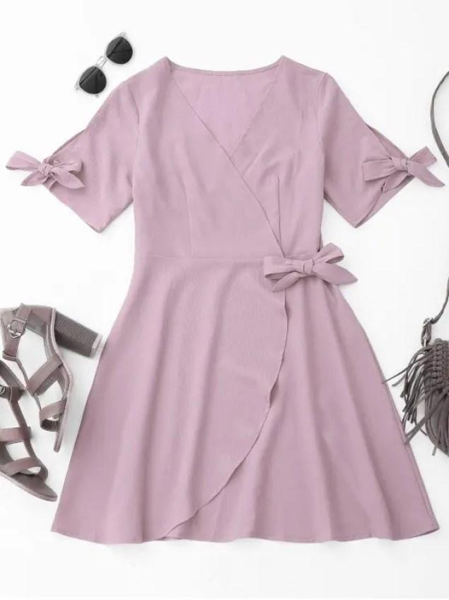 shop Cover-up Wrap Dress - LIGHT PURPLE S