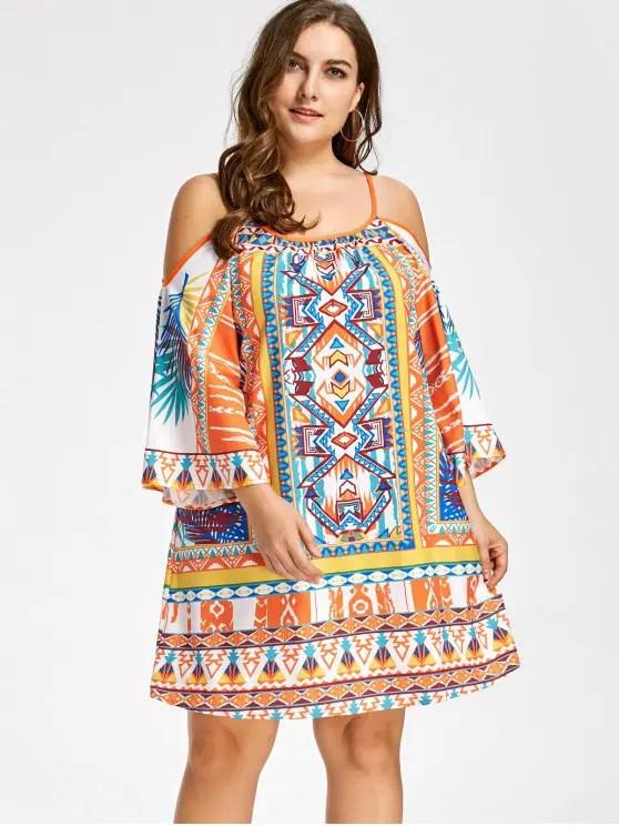 Resultado de imagen de plus size cold shoulder dress