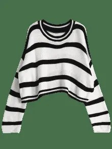 Crew Neck Stripe Cropped Sweater