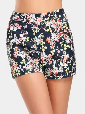 High Waist Floral Print Shorts - Floral L