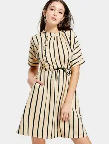 Half Sleeve Drawstring Striped Dress - Apricot S