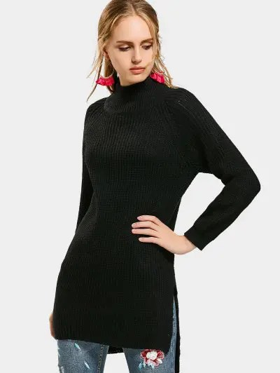 Zaful High Neck Side Slit High Low Sweater