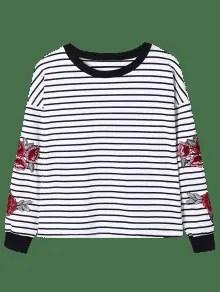 2019 Striped Floral Embroidery Sweatshirt In BLACK STRIPE