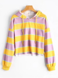 2019 Contrast Striped Drawstring Hoodie In YELLOW M | ZAFUL