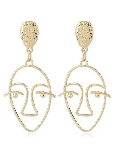 Face Geometric Hollow Stud Earrings