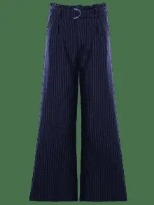 Striped High Waist Formal Wide Leg Pants