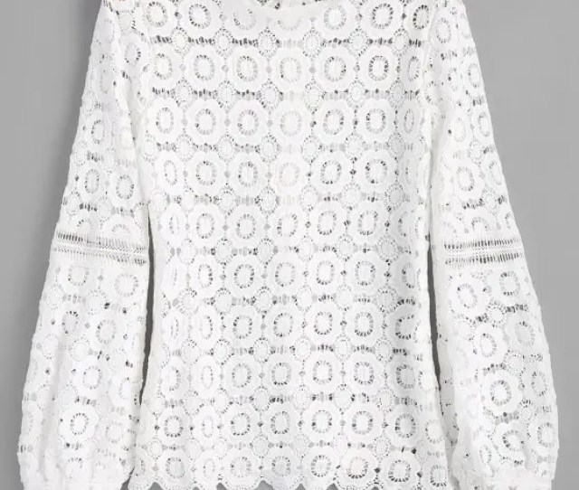 Long Sleeve Floral Lace Top White M