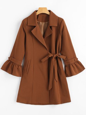 Snap Button Flare Sleeve Lapel Coat - Brown S