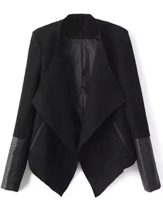 Faux Leather Panel Asymmetric Draped Jacket