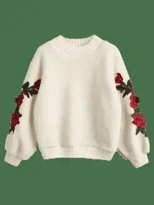 Floral Appliques Ribbed Hem Shearling Sweatshirt