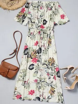 Firstgrabber Floral Cut Out Off Shoulder Maxi Dress