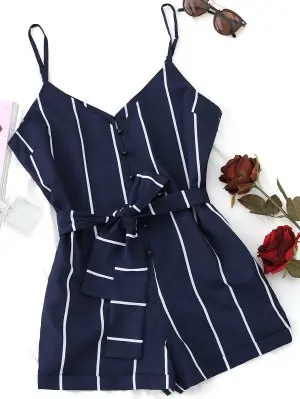 Firstgrabber Striped Belted Cami Romper