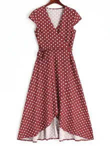 Asymmetrical Polka Dot Wrap Maxi Dress