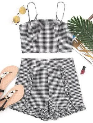 Firstgrabber Gingham Smocked Camis and Frilled Shorts