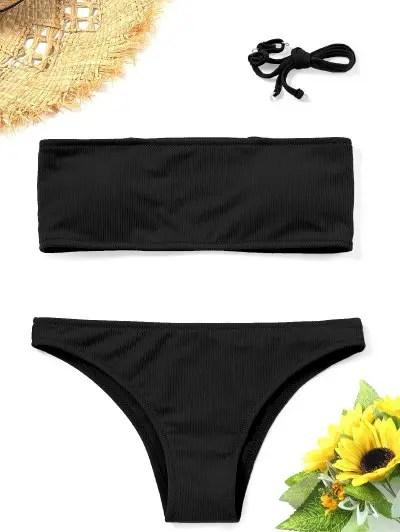 Ribbed Bandeau Bikini Set