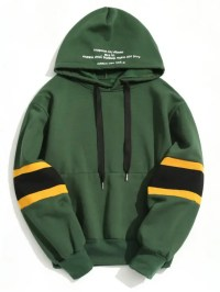 2018 Pullover Contrast Color Hoodie In GREEN M | ZAFUL