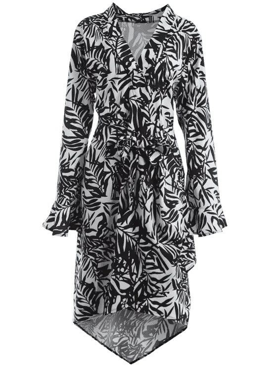 hot Plunging Neck Leaf Print Asymmetric Plus Size Dress - WHITE AND BLACK XL