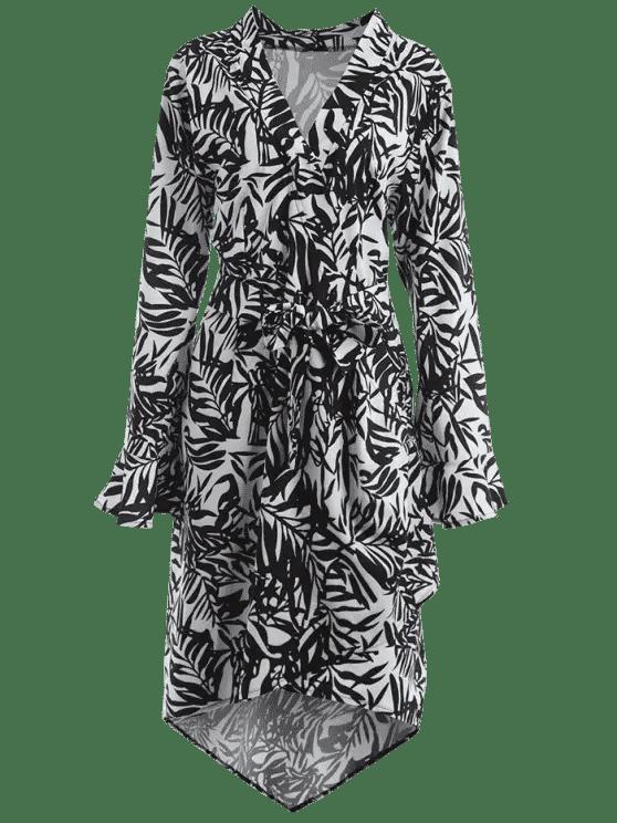 hot Plunging Neck Leaf Print Asymmetric Plus Size Dress - WHITE AND BLACK XL