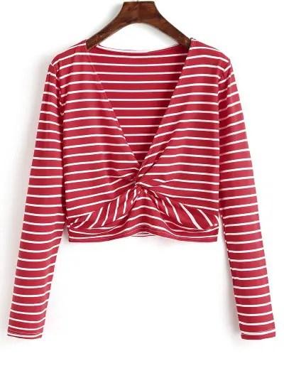 Twist Cropped Stripes Top - Red L