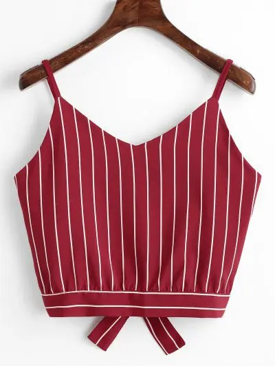 Bowknot Cut Out Striped Cropped Tank Top
