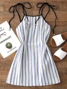 Firstgrabber Stripes Mini Slip Dress - Light Blue S