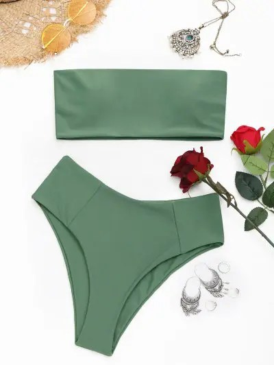 High Cut Bandeau Bikini Set