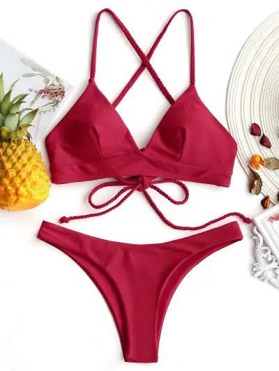 Cross Back Plaited Cami Bikini Set