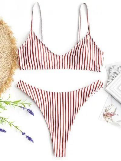 High Cut Striped Thong Bikini Set