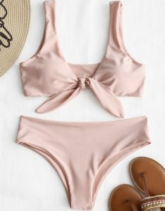 Online front knot padded bikini set pink  also off in zaful rh