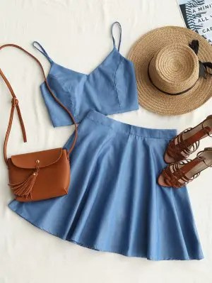 Firstgrabber Smocked Crop Cami Top and Skirt Set