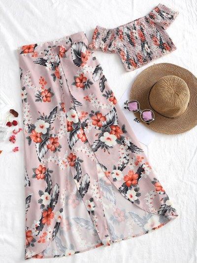 Off Shoulder Top and Slit Asymmetrical Skirt Set