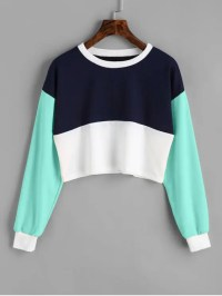 Contrast Crop Sweatshirt LAKE GREEN: Sweatshirts M | ZAFUL