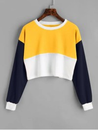 [HOT] 2018 Contrast Crop Sweatshirt In YELLOW M | ZAFUL