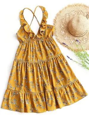 Firstgrabber Empire Waist Ruffles Backless Floral Dress