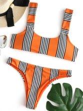 Ensemble Bikini Paddé à Rayures - Orange M