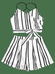 [37% OFF] 2019 Striped Bowknot Cami Top And Shorts Set In