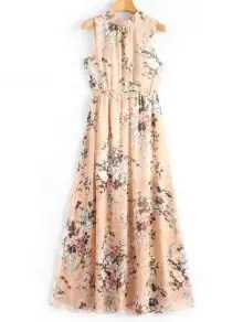 Open Back Slit Floral Print Maxi Dress
