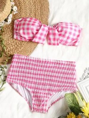 Top de biquíni bandeau xadrez com cuecas de cintura alta Smocked - rosa e branco Xl