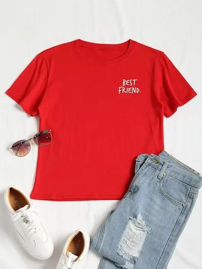 Zaful Short Sleeved Slogan Print Tee