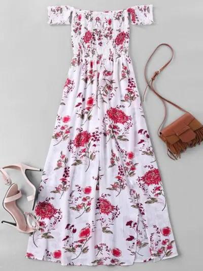 Zaful Off Shoulder High Split Floral Maxi Dress