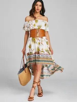 Firstgrabber Tribal Asymmetrical Off Shoulder Midi Dress