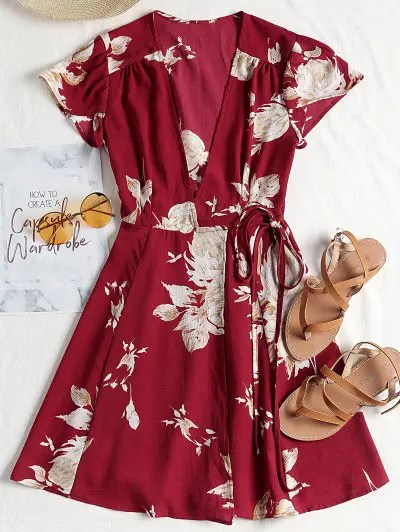 Cap Sleeve Wrap Mini Tea Dress - Claret L