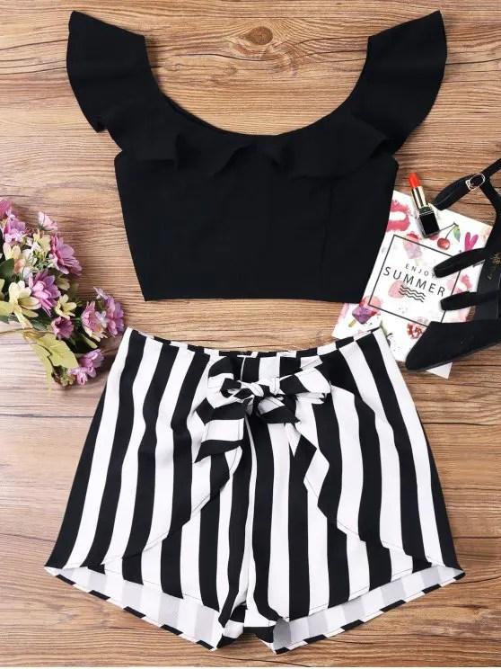 new Ruffle Striped Shorts Two Piece Set - BLACK S