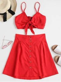 Bralette Top Mini Skirt Two Piece Set RED: Two-Piece ...